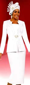 Fifth Sunday 52868-White - Embellished Womens Church Suit