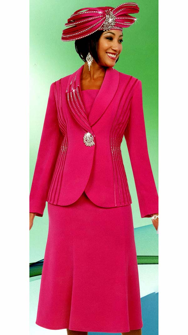 Fifth Sunday 52869-Fuchsia - Flared Skirt Suit With Embellished Shawl Lapel