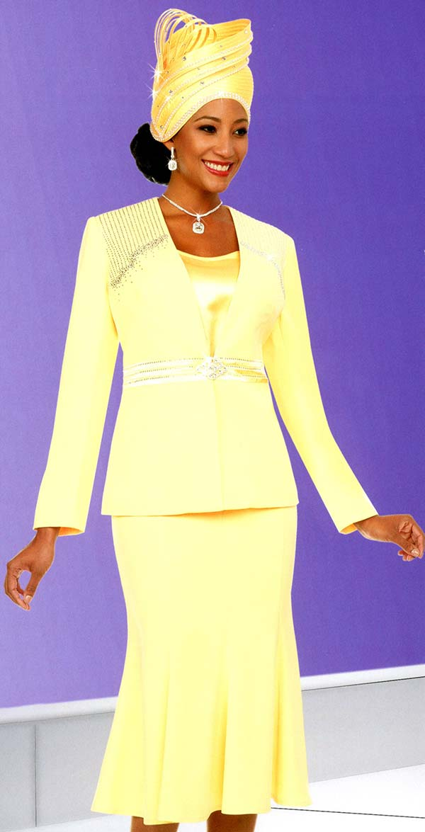 Fifth Sunday 52870-Banana - Embellished Womens Church Suit With Flared Skirt