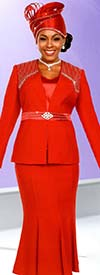 Fifth Sunday 52870-Red - Embellished Womens Church Suit With Flared Skirt