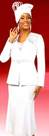 Fifth Sunday 52870-White - Embellished Womens Church Suit With Flared Skirt