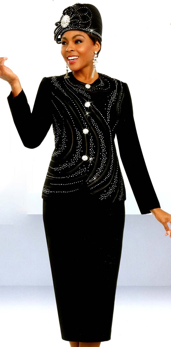 Fifth Sunday 52873-Black - Embellished Skirt Suit With Piping Design