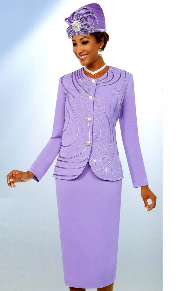 Fifth Sunday 52873-Lavender - Embellished Skirt Suit With Piping Design