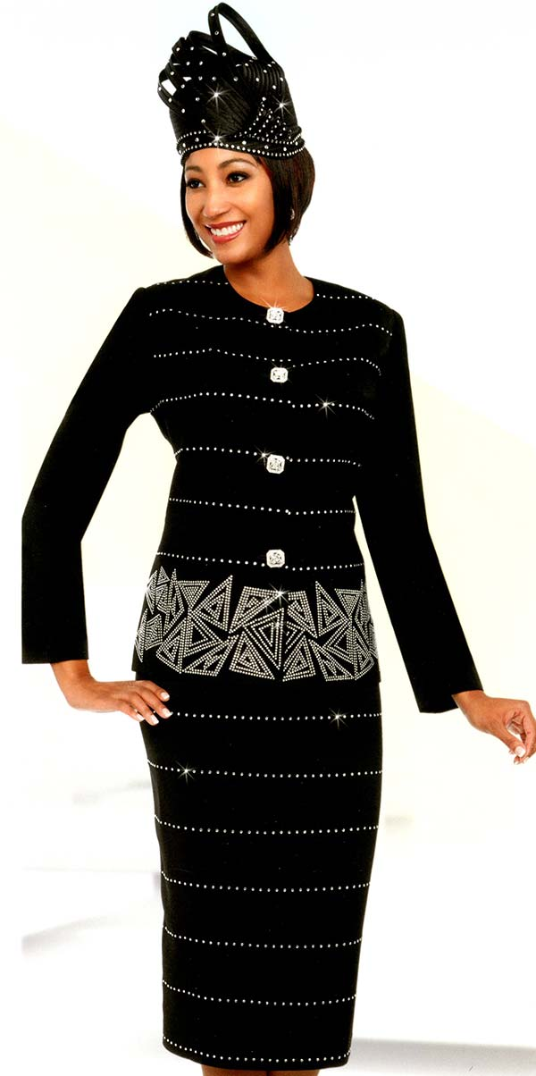 Fifth Sunday 52874-Black - Embellished Skirt Suit With Triangular Pattern Design