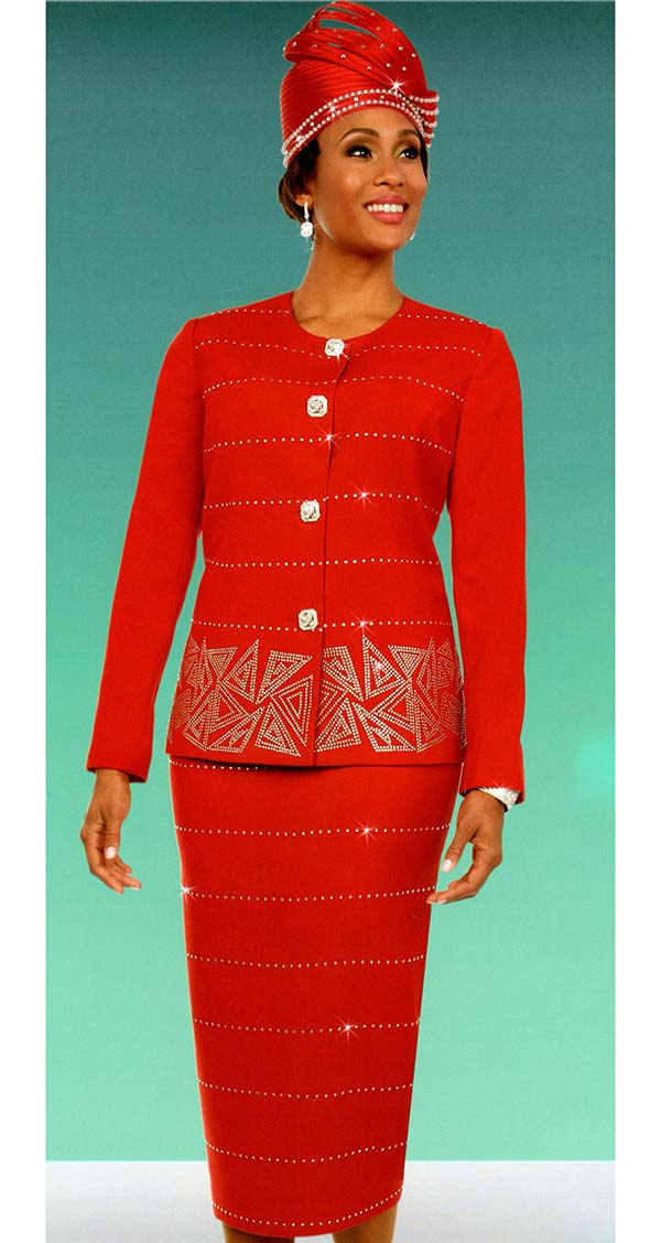 Fifth Sunday 52874-Red - Embellished Skirt Suit With Triangular Pattern Design