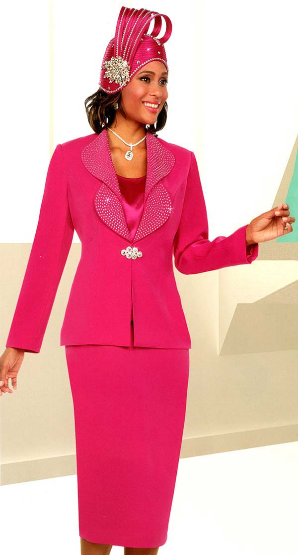 Fifth Sunday 52875-Fuchsia - Skirt Suit With Embellished Lapels