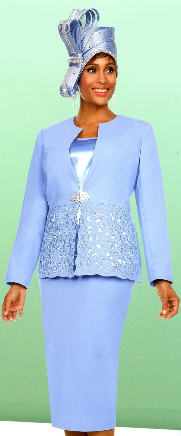 Fifth Sunday 52876-Blue - Skirt Suit With Embroidery Design Jacket