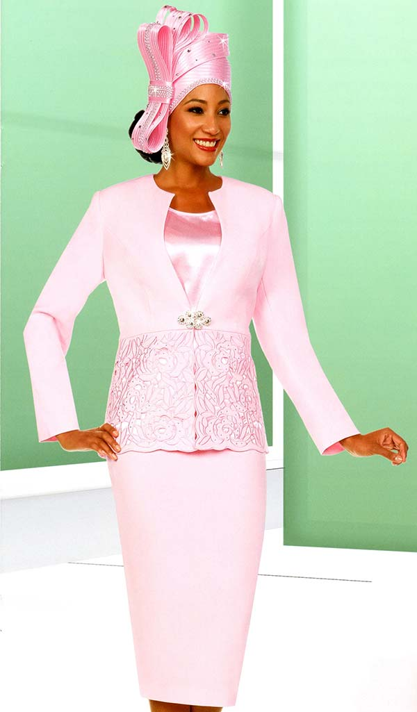 Fifth Sunday 52876-Pink - Skirt Suit With Embroidery Design Jacket