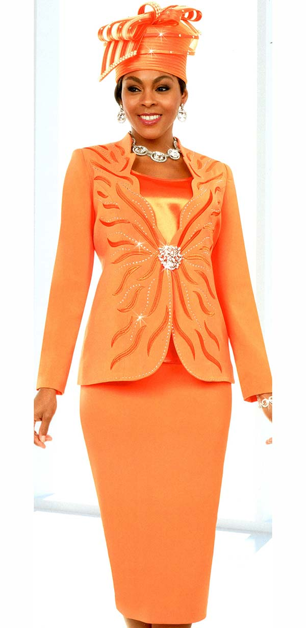 Fifth Sunday 52877-Tangerine - Skirt Suit With Scalloped Neckline Embellished Jacket