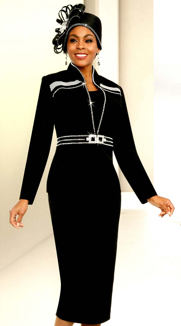 Fifth Sunday 52878-Black - Skirt Suit With Stand-Up Collar Embellished Jacket