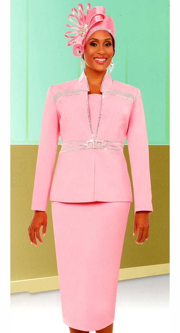 Fifth Sunday 52878-Pink - Skirt Suit With Stand-Up Collar Embellished Jacket