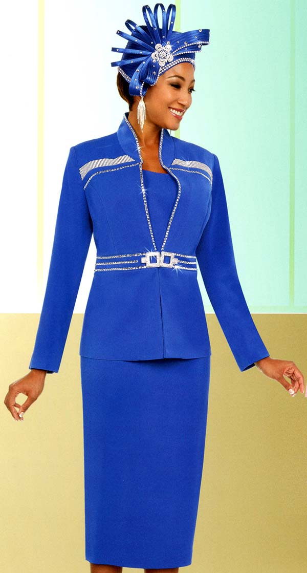 Fifth Sunday 52878-Royal - Skirt Suit With Stand-Up Collar Embellished Jacket