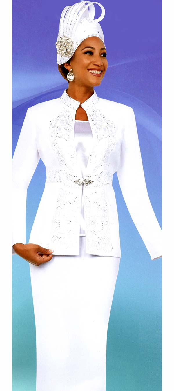 Fifth Sunday 52879-White - Skirt Suit With Embroidered Stand Up Collar Jacket