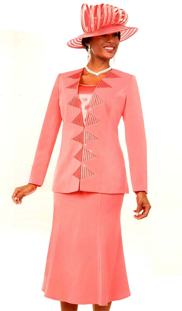 Fifth Sunday 52882-Coral - Flared Skirt Suit With Embellished Triangle Pattern Jacket