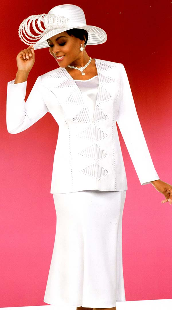 Fifth Sunday 52882-White - Flared Skirt Suit With Embellished Triangle Pattern Jacket