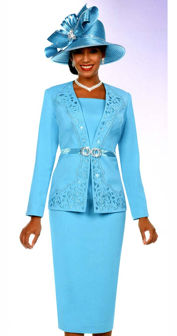 Fifth Sunday 52883-Blue - Skirt Suit With Embellished Intricate Pattern Jacket