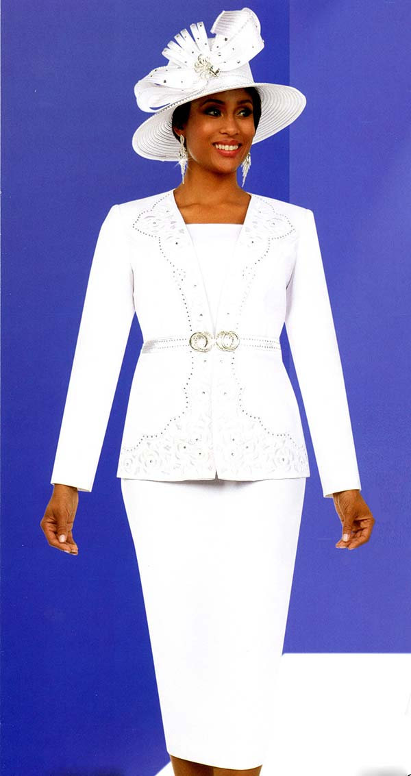 Fifth Sunday 52883-White - Skirt Suit With Embellished Intricate Pattern Jacket
