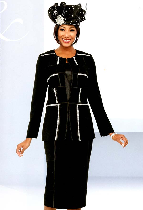Fifth Sunday 52884-Black - Skirt Suit With Embellished Block Pattern Design
