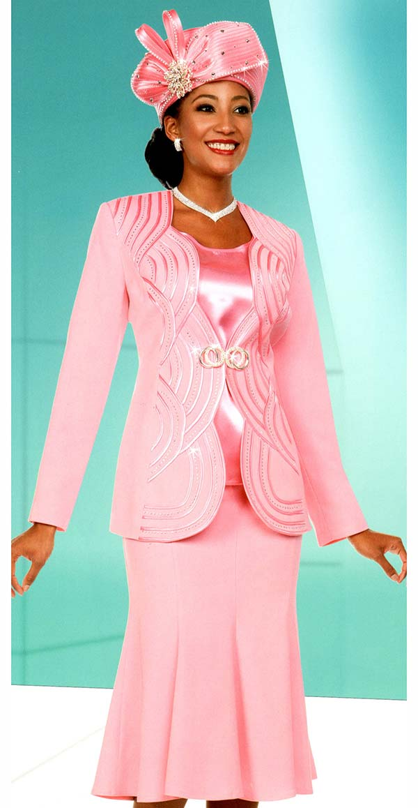 Fifth Sunday 52885-Pink - Flared Skirt Suit With Scalloped Piping Pattern Jacket