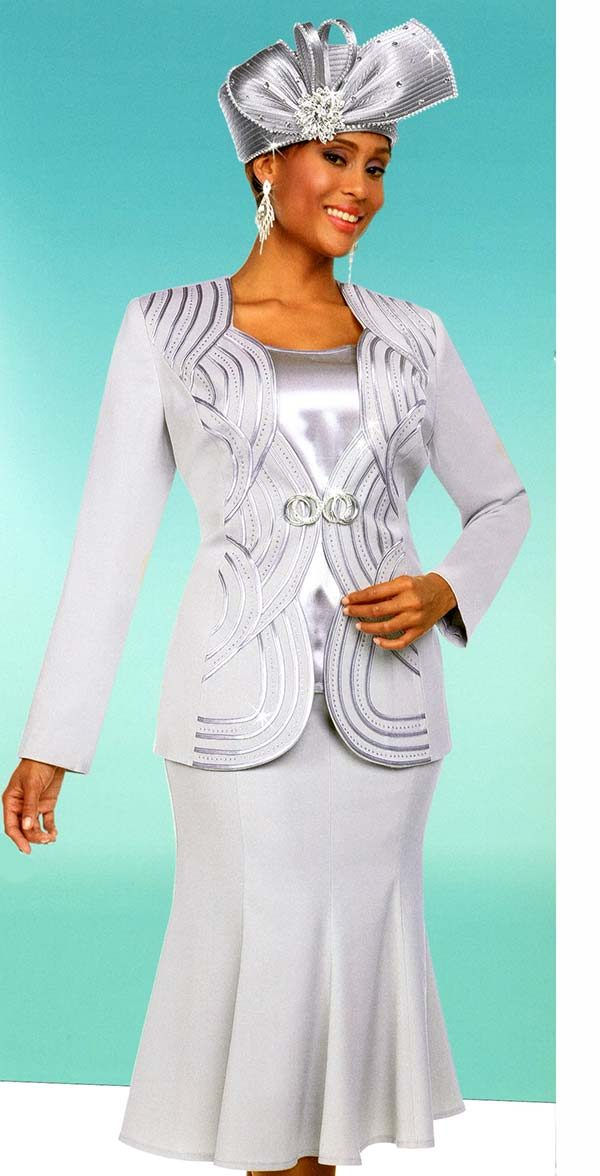 Fifth Sunday 52885-Platinum - Flared Skirt Suit With Scalloped Piping Pattern Jacket