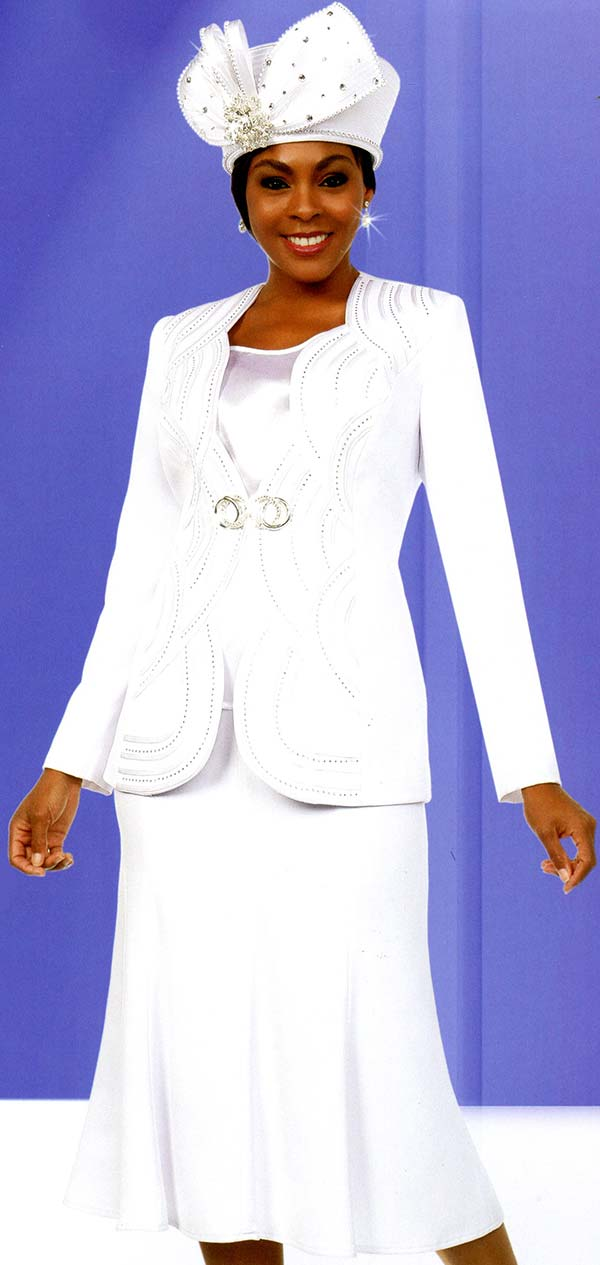 Fifth Sunday 52885-White - Flared Skirt Suit With Scalloped Piping Pattern Jacket