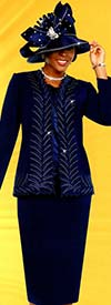 Fifth Sunday 52887-Navy - Skirt Suit With Intricate Trimmed Jacket