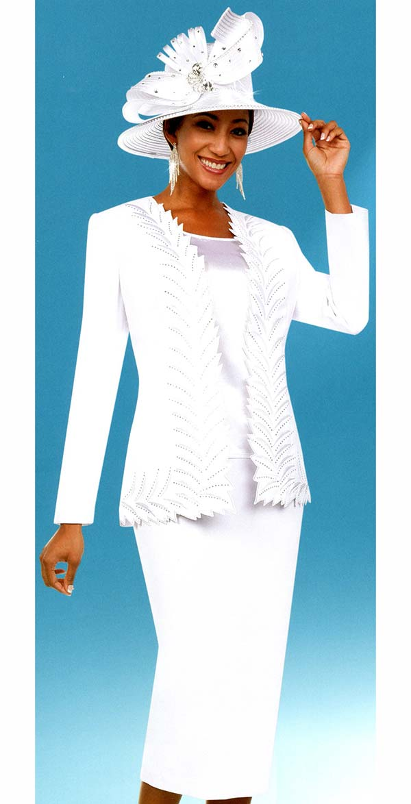 Fifth Sunday 52887-White - Skirt Suit With Intricate Trimmed Jacket