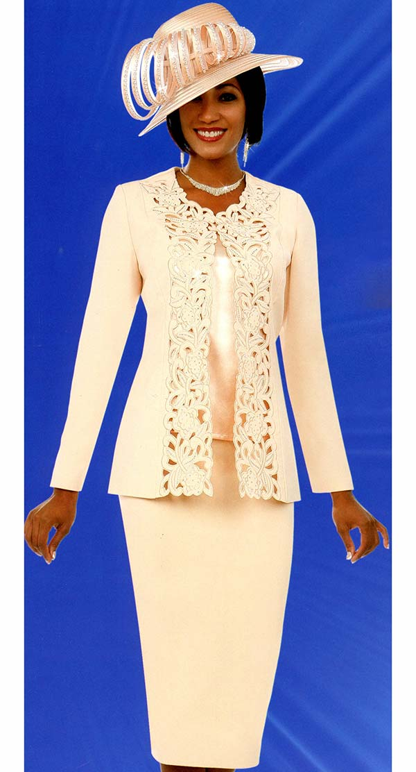 Fifth Sunday 52888-Chardonnay - Skirt Suit With Intricate Cut-Out Design Jacket