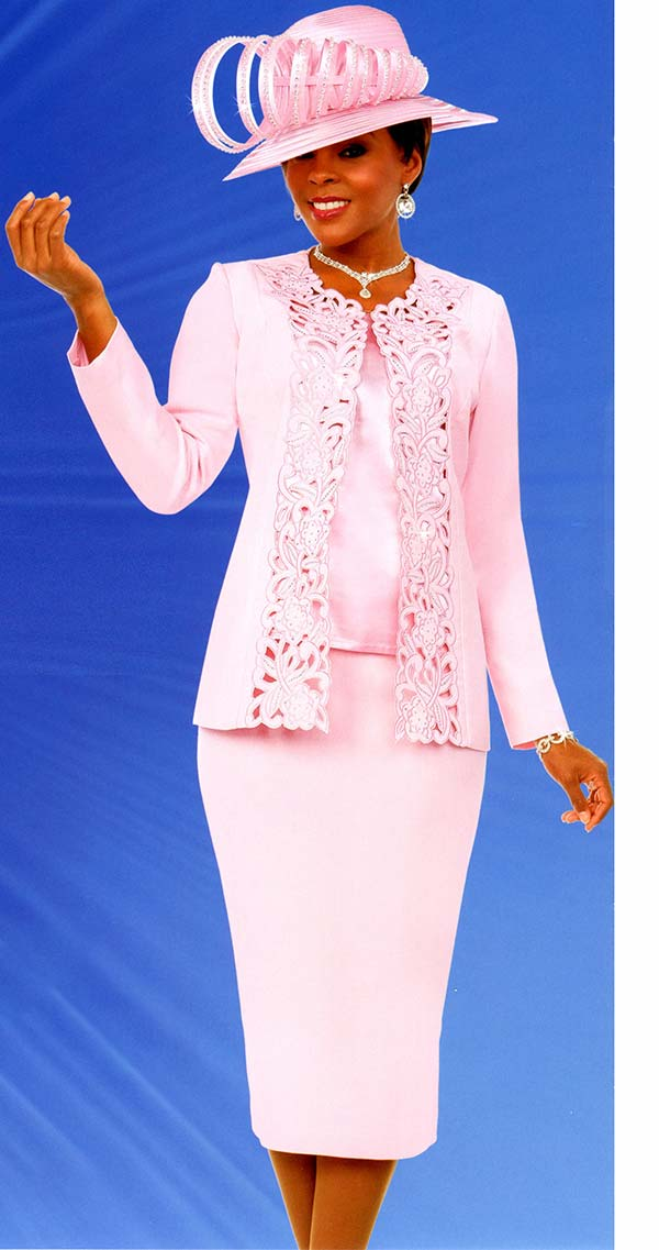 Fifth Sunday 52888-Pink - Skirt Suit With Intricate Cut-Out Design Jacket