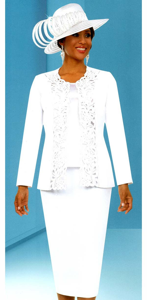 Fifth Sunday 52888-White - Skirt Suit With Intricate Cut-Out Design Jacket