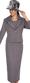 Clearance GMI G5263-Charcoal - Ladies Layered Collar Suit For Church