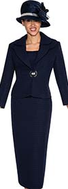 Clearance GMI G5263-Navy - Ladies Layered Collar Suit For Church