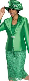 GMI G5273-Emerald - Lace Embroidered Skirt Suit For Church