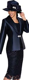 GMI G5273-Navy - Lace Embroidered Skirt Suit For Church