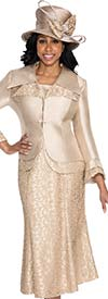 Clearance GMI G5312-Champagne - Womens Lace Design Skirt Suit