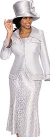 Clearance GMI G5312-Silver - Womens Lace Design Skirt Suit