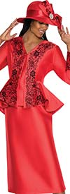 GMI G5323-Red - Ladies Embroidered Floral Design Suit