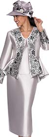 GMI G5323-Silver - Ladies Embroidered Floral Design Suit