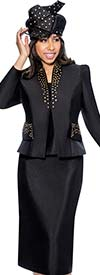 GMI G6303-Black - Star Neck Skirt Suit With Stud Details