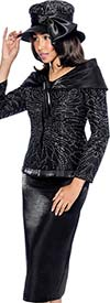 GMI G6312-Black - Skirt Suit With Shawl Wrap Rhinestone Jacket