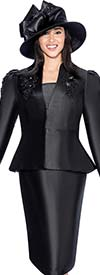 GMI G6323-Black - Skirt Suit With Floral Applique Embroidered Peplum Jacket