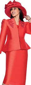 GMI G6323-Red - Skirt Suit With Floral Applique Embroidered Peplum Jacket