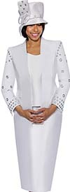 GMI G6333-White - Skirt Suit With Grommet Design Detail Sleeve Jacket