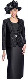 GMI G6413-Black - Skirt Suit With Embroidered Laser Cut Design Jacket