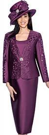 GMI G6413-Purple - Skirt Suit With Embroidered Laser Cut Design Jacket