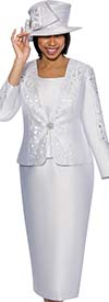 GMI G6413-White - Skirt Suit With Embroidered Laser Cut Design Jacket