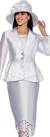 Clearance GMI G6443-White - Skirt Suit With Laser Cut Design Peplum Jacket