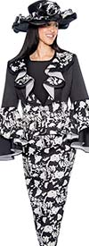 GMI G6453-BlackWhite - Printed Skirt Suit With Ruffle Design Peplum Jacket