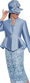 GMI G6463-Perri - Skirt Suit With Lace Framed Notch Collar Jacket