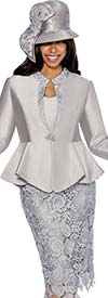 GMI G6463-Silver - Skirt Suit With Lace Framed Notch Collar Jacket